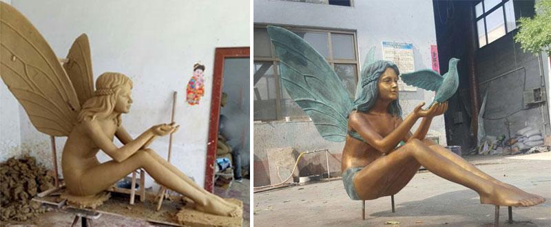 Bronze figurines Girl Angel Statue for park garden