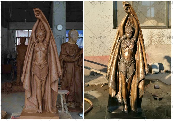 Custom life size bronze Dancing girl statue for outdoor