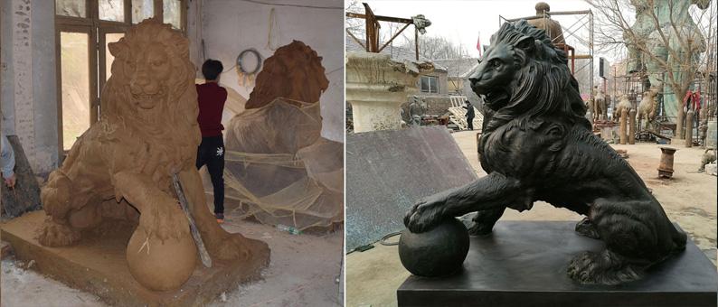 Life size lion statue
