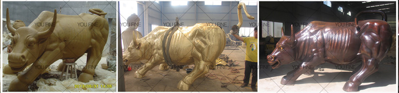 Wall street bull sculpture