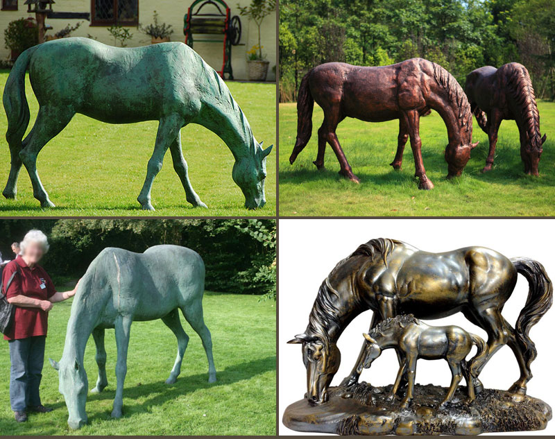 Outdoor bronze eating grass standing horse sculptures for garden