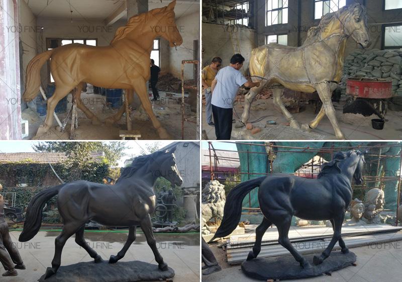 standing-bronze-black-horse-statue