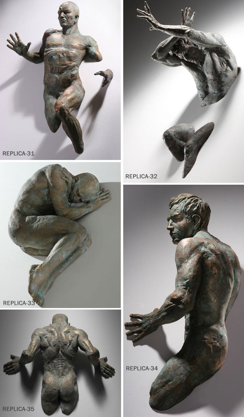 Matteo Pugliese Famous Abstract Bronze Man on Wall Sculpture